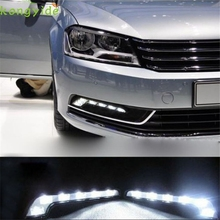 High Quality New 2X 6LED White Car Driving Lamp Fog 12v Universal DRL Daytime Running Light