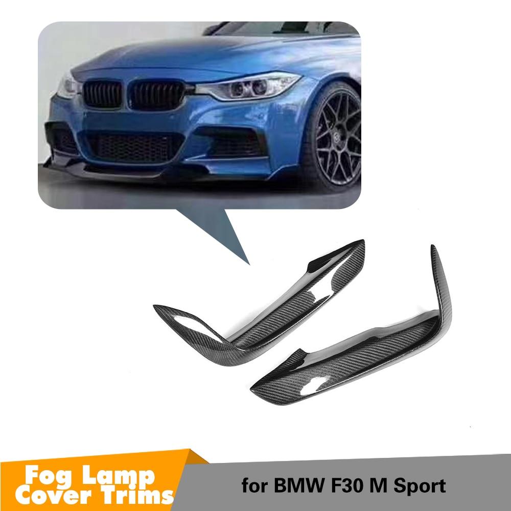 Carbon fiber Front Fog Lamp Fin Splitters Lip for BMW 3 Series F30 M Sport New
