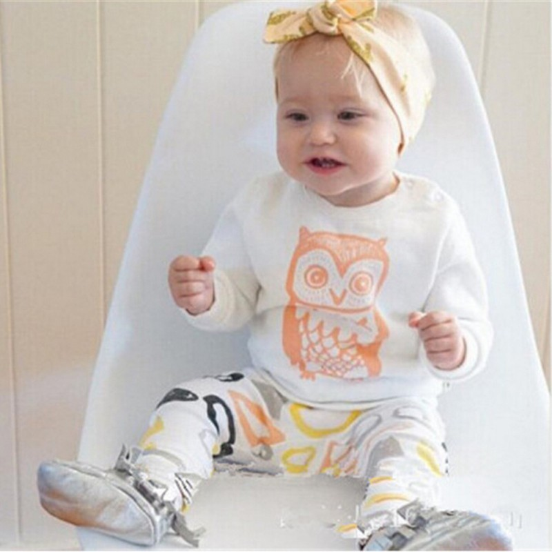 Girl Boys Clothes September Long Sleeve Owl Long Pants Set Suit Children Clothing Newborn Baby Clothes <br><br>Aliexpress