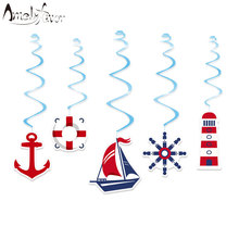 Sailboat Nautical Ceiling Hanging Swirl Decorations Cutout Baby Shower Girl Party Supplies DIY Decor Event Party Festive(China)