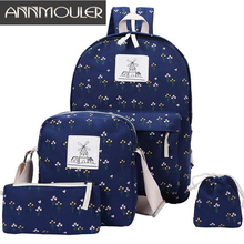 Annmouler Designer Girls Student School Bag Fashion Discount Women Backpack Set 4 Pcs Casual Daypack Canvas Rucksack Laptop Bag(China)