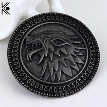 Exquisite Christmas gift game of thrones brooches Pin winter is coming Targaryen wolf punk large brooches badge Dress Accessory(China)