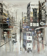 Hand Painted Canvas Knife Oil Painting Abstract Hong Kong Trams Street Painting Wall Picture for Home Decoration