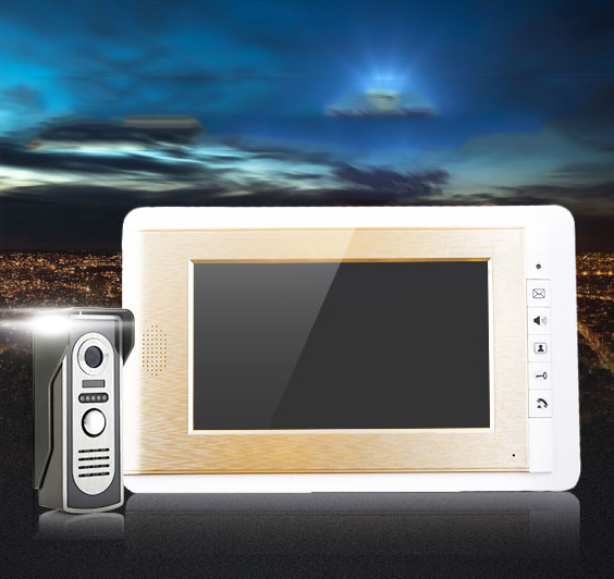 GOLD COLOR FASHIONABLE New Wired 7 Color Touch Screen Video Intercom Door Phone System  Outdoor Camera In Stock<br><br>Aliexpress
