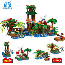 Buy Qunlong Toys Mine World 4 1 Pavilion Windmill Building Blocks Children Educational Toys Compatible Legoe Minecrafted City for $23.65 in AliExpress store