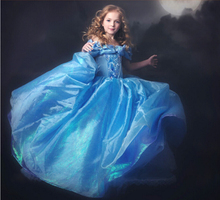 Arrivals Cinderella Party Dresses New Movie Kids Clothing Blue Girl Dress With Butterfly And Dots Fashion Children Summer Wear
