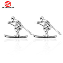 Newest silver skiing Cufflinks High Quality for Mens Shirt Wedding Party Cuff Links The Bake Lacquer Cuff Button Accessories