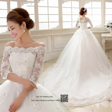 Fancy Elegant China Wedding Dress Plus Size Vestidos de Casamento Lace Wedding Gowns Long Train Bride Dresses 2017 Sequined Bead
