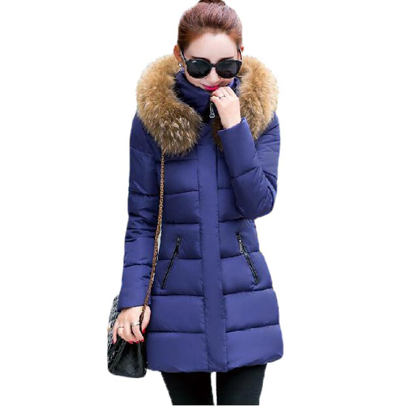 2017 Padded Winter Coat Women Slim Long Large Fur Collar Down Cotton Jacket Stand Collar Hooded Outerwear Thick Coat PW0473Одежда и ак�е��уары<br><br><br>Aliexpress