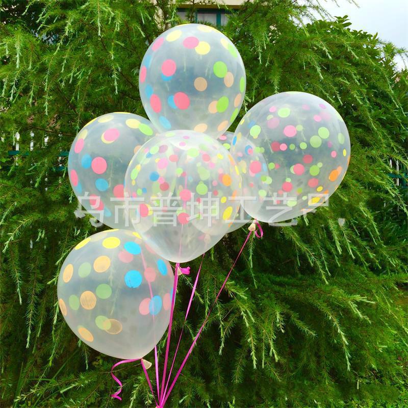 10pcs 12 inch Clear Transparent Latex Polka Dots Balloons Wedding Birthday Balloons Decoration Globos Party Anniversary Ballon