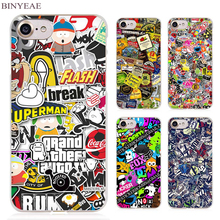 BINYEAE Sticker Bomb Illustration Pattern Clear Cell Phone Case Cover for Apple iPhone 4 4s 5 5s SE 5c 6 6s 7 Plus(China)