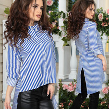 2017 New Spring Summer Fashion Style Women Blouse Stand Striped Three Quarter Sleeve Asymmetrical Shirts Tops Plus Size