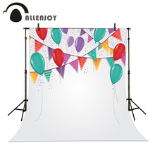 Allenjoy Birthday party background Pure White Hanging flags Colored balloons studio backdrops can add text