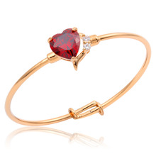 Cute Yellow Gold Color Love Peach Heart Red AAA Zircon w/ Clear CZ Accent Bangle Bracelets For Baby Toddler Kids Girls Jewelry