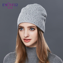 ENJOYFUR Cashmere Knitted Hat Female Warm Wool Winter Hats Women's Rhinestones Skullies Beanies Girl Thick Gravity Falls Cap(China)