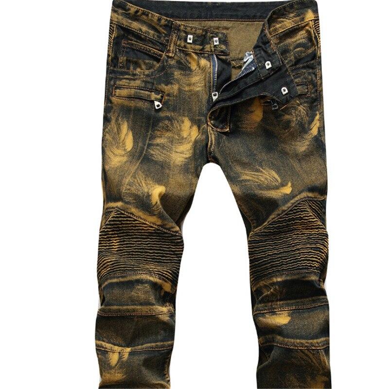 Hodisytian 2017 New Fashion Men Denim Pants Slim Punk Distressed Straight Pleated Biker Jeans Male Cowboy Trousers Plus Size Îäåæäà è àêñåññóàðû<br><br>