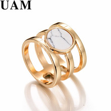 New Brand Design Gold Color White Faux Marble Stone Rings For Women Punk Jewelry anelli femme(China)