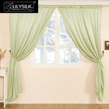 LILYSILK Silk Curtain 22 Momme Fashion New Classical Living Room Tube Solid Color Drape Pole Pocket Header Free shipping