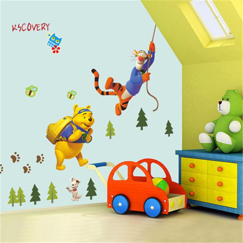HTB19XSNhMnH8KJjSspcq6z3QFXam - Baby Bear Cartoon DIY Wall Stickers For Kids Children Room Decaor 3d Window Bear Winnie Pooh Nursery Wall Decals