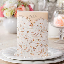 50pcs Personalized Elegant flower design laser cut Wedding Invitation card ivory color  Free Printing with envelope seals cw100