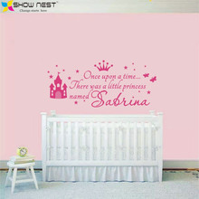 Custom Princess Girl Name Decals Wall Sticker For Kids Rooms Baby Girl Nursery Wall Decals Girl's Bedroom Wall Art Home Decor