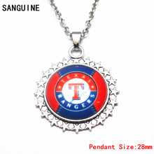 Newest Silver Star Alloy Pendant MLB Baseball Texas Rangers Dangle Charms With 50cm Chain Necklace For Fashion Necklace Jewelry(China)