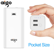 10000mAh Aigo Power Bank Dual USB Ports Portable Fast Charger Powerbank 10000mAh External Battery for Iphone 6 6s 7 7s X(China)