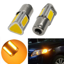 2Pcs 1156 Ba15S P21W 4 COB Amber Red Ice Blue Car LED Turn Signal Rear Light Parking Lamp Bulb Car Light Source DC12V New(China)
