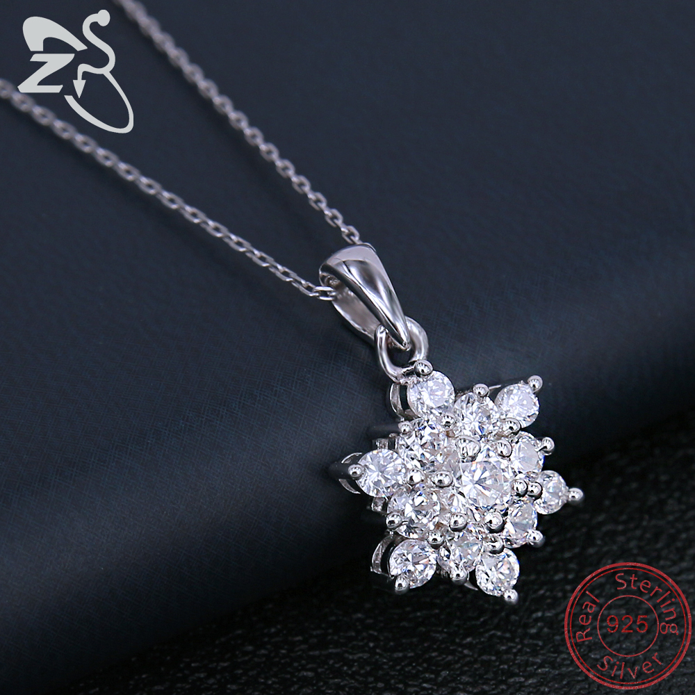 925 Sterling Silver Chain AAA Cubic Zirconia Crystal Snowflake Necklace