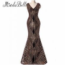modabelle Cheap Long Evening Dresses Black Gold Sequin Sparkly African Mermaid Prom Dress Party Robe De Soiree Real Picture 2017(China)