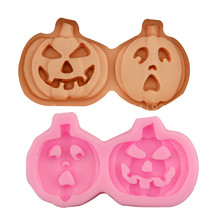 Halloween Pumpkin Mask Silicone Fondant Soap 3D Cake Mold Cupcake Jelly Candy Chocolate Decoration Baking Tool Moulds FQ1932