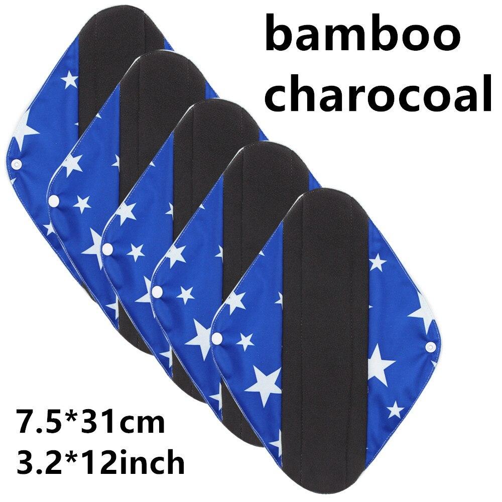 New Reusable Bamboo Charocoal Washable Menstrual Pad Mama Sanitary Towel Pad Practical Feminine Hygiene Product 1pc Pretty 18
