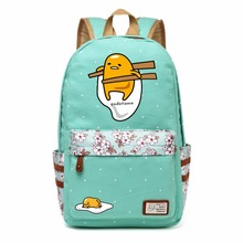 WISHOT Gudetama Lazy Egg Cartoon Canvas bag Flowers wave point Rucksacks backpack Girls School Bag travel Shoulder Bag bookbag