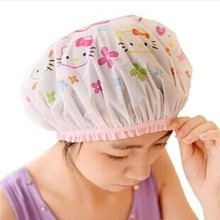 5x hello kitty women shower cap waterproof bathing hat oilproof kitchen hat free shipping(China)