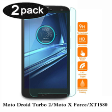 2/set 0.26mm Tempered Glass For Motorola Moto Droid Turbo 2 Moto X Force XT1580 Screen Protector Film Guard 9H Hardness
