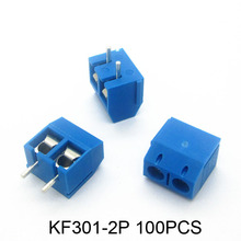 100pcs KF301-2P 2 Pin Plug-in Screw Terminal Block Connector 5.08mm Pitch