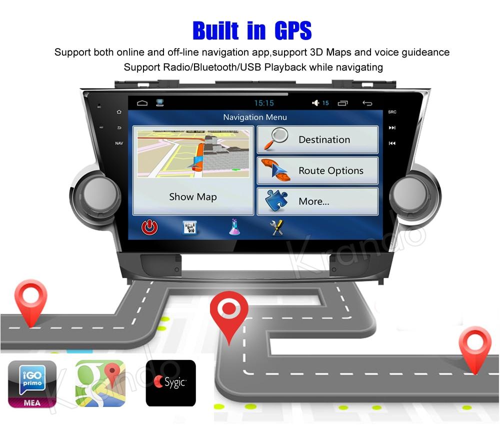 Krando toyota highlander Android car radio gps navigation multimedia system (5)