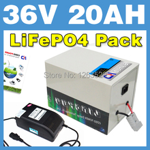 36V 20AH LiFePO4 Battery Rear rack BOX Lithium Battery Electric Scooter Pack E-bike Free Shipping