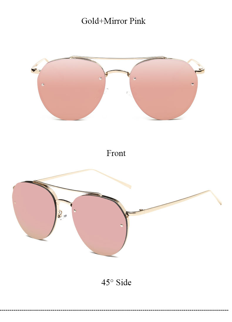 CandisGY New Fashion Women Brand Designer Sunglasses Mirror Rose Gold Flat Top Lady Stylish Clear Pink Sun Glasses Pilot Summer