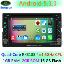 2 Din 2Din Car DVD Radio Player Universal 100% Pure Android 5.1.1 Quad Core A9 1.6G CPU 16GB Flash GPS Stereo Navigation system