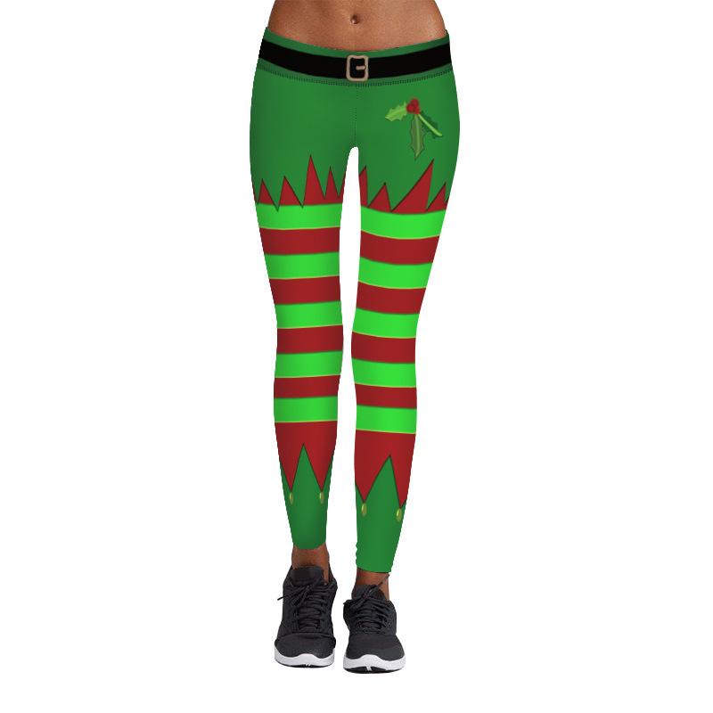 Women's Christmas Leggings, Multi-color Stripe Printed, Festival Christmas Leggings 12
