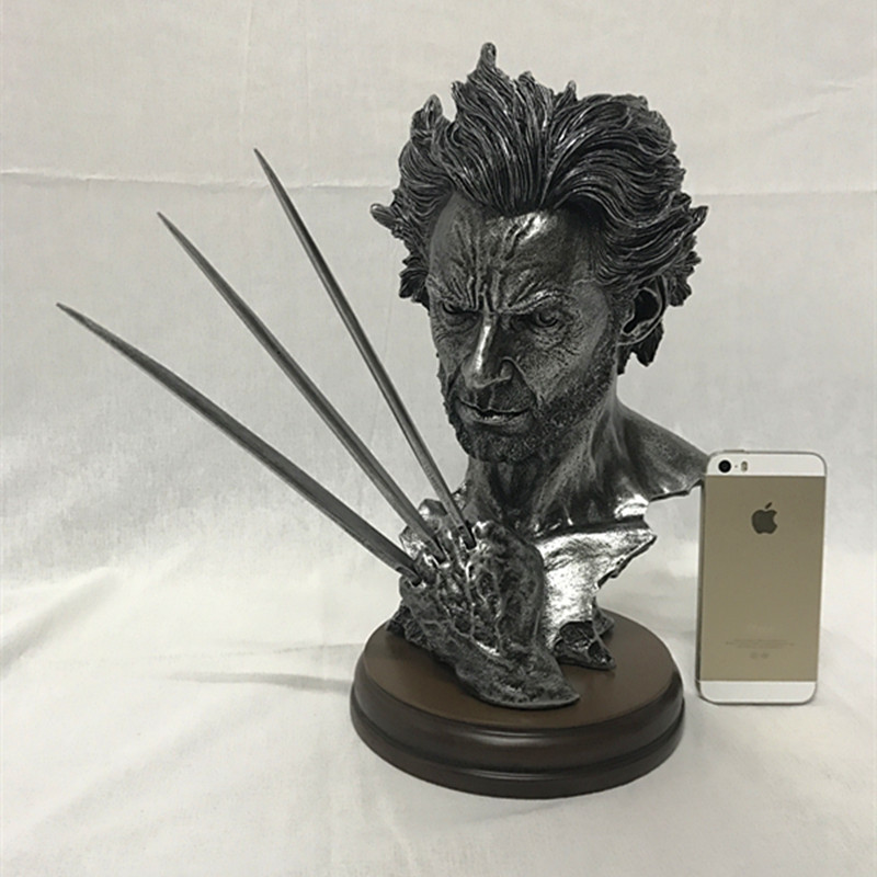 "Hot 12"" Super Hero X-men Wolverine Bust model With Stand Hugh Jackman Resin Lmitation Bronze Statue Action Figure Collectible(China (Mainland))"