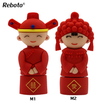 New pen drive 64gb Chinese wedding U disk 16gb 8gb 4gb usb flash drive 32gb Cute red usb 2.0 sweet couple husband wife usb stick