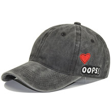 Adjustable Washed Dyed Vintage Dad Hat Embroidered Love Heart Texts Curved Panel Baseball Cap Snapback for Men Women,Black(China)