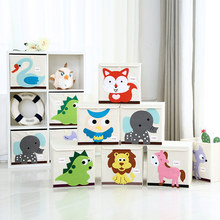 2017 New 3D Cartoon Animal cotton cloth Embroider Fold Storage Box kid Toy Clothes organizer box children Sundries Storage Bin(China)