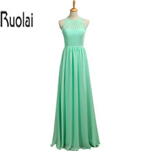 2016 New Real Sample Green Chiffon A Line Hater Simple Floor Length Bridesmaid Dresses Long Maid Of Honor Dress