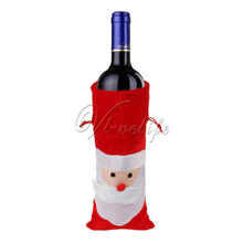 1 Piece Red Wine Bottle Cover Bags Santa Claus Candy Gift Bags for Christmas Dinner Table Decoration Home Party Hotel Bar Decors