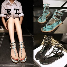 Best Selling Rivet Sandals Genuine Leather Sexy High Calf Buckles lady Sandals T Strappy Lady Shoes Cool Flip Flops B056