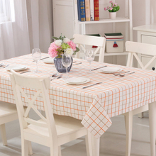 Linen Tablecloth Orange and Yellow Plaid 100% Polyester Table Cover Recyclable and Useful Suitable for Dining Room