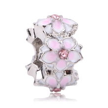 Couqcy Hot Sale Silver Color Magnolia Bloom Floral Spacer DIY Beads Fit Original Pandora Charm Bracelet Authentic Jewelry